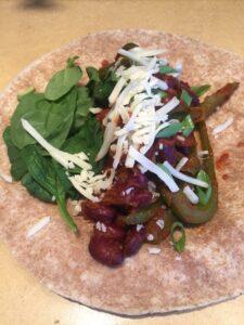 Vegetarian fajitas with add-ons